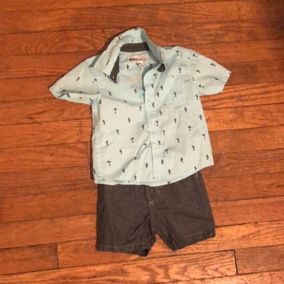 Kids Headquarters Other - {Kid's Headquarters} Cactus Button-Down Shorts Set